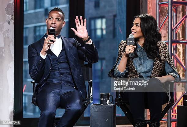 Marlon Wayans and Kali Hawk attend AOL Build to discuss their movie Fifty Shades of Black at AOL Studios on January 20 2016 in New York City