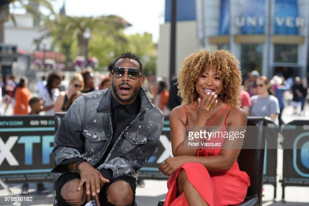 Marlon Wayans and Tanika Ray visit 'Extra' at Universal Studios Hollywood on June 19 2018 in Universal City California