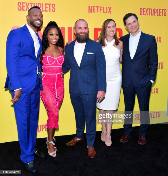 Marlon Wayans Bresha Webb Michael Tiddes Molly Shannon and Michael Ian Black attend the premiere of Netflix's Sextuplets at ArcLight Hollywood on...