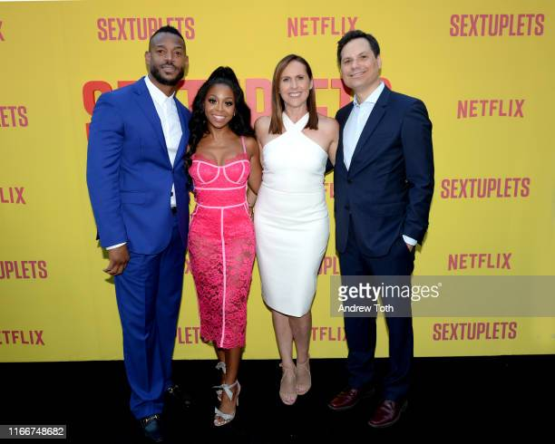 Marlon Wayans Bresha Webb Molly Shannon and Michael Ian Black attend the Netflix World Premiere Of 'SEXTUPLETS' at The Arclight Hollywood on August...