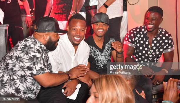 Marlon Wayans Larenz Tate and Lance Gross attend The Art of Luxury 'Black and White Blowout' Party at Metropolitan Nightclub on July 2 2017 in New...