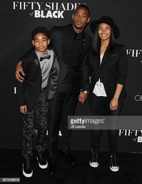 Marlon Wayans son Shawn and daughter Amai arrive for the premiere of Open Roads Films' 'Fifty Shades Of Black' held at Regal Cinemas LA Live on...