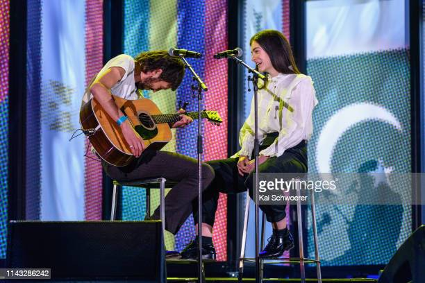 Marlon Williams and Lorde perform during the You Are Us/Aroha Nui Concert at Christchurch Stadium on April 17, 2019 in Christchurch, New Zealand. The...