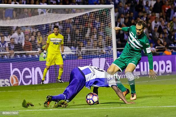 Marlos Moreno and Victor Ruiz in action during the Spanish league football match between Real Club Deportivo de La Coruña vs Club Deportivo Leganés...