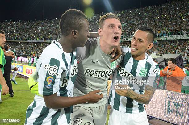 Marlos Moreno Franco Armani and Gilberto García celebrate after winning a second leg final match between Atletico Nacional and Atletico Junior as...