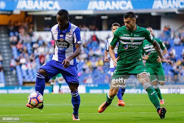 Marlos Moreno in action during the Spanish league football match between Real Club Deportivo de La Coruña vs Club Deportivo Leganés at estadio...