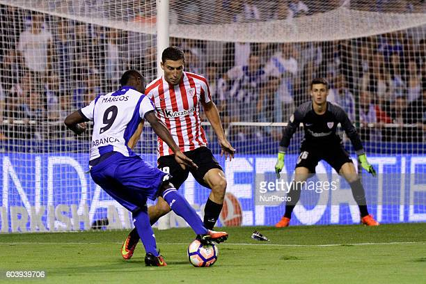 Marlos Moreno in action during the Spanish league football match Real Club Deportivo de La Coruña vs Athletic Club de Bilbao at estadio Municipal de...