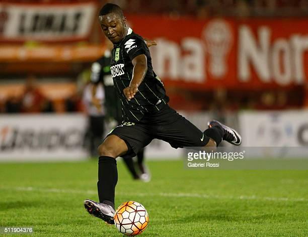 Marlos Moreno of Atletico Nacional kicks the ball during a group stage match between Huracan and Atletico Nacional as part of Copa Bridgestone...