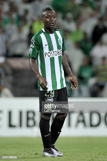 Marlos Moreno of Atletico Nacional looks on during a second leg match between Atletico Nacional and Huracan as part of round of 16 of Copa...