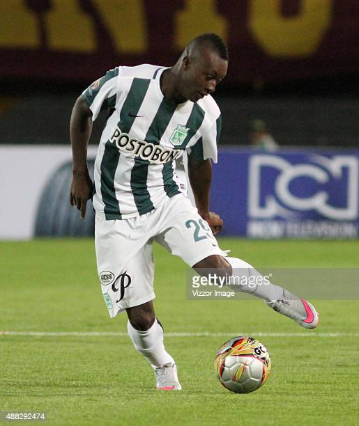 Marlos Moreno of Atletico Nacional plays the ball during a match between Deportes Tolima and Atletico Nacional as part of 12th round of Liga Aguila...