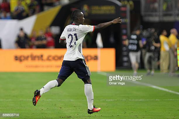 Marlos Moreno of Colombia celebrates after scoring the second goal of his team during a group A match between Colombia and Costa Rica at NRG Stadium...