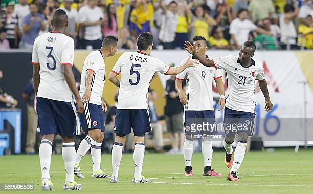 Marlos Moreno of Colombia celebrates after scoring the second goal of his team during group A match between Colombia and Costa Rica at NRG Stadium as...
