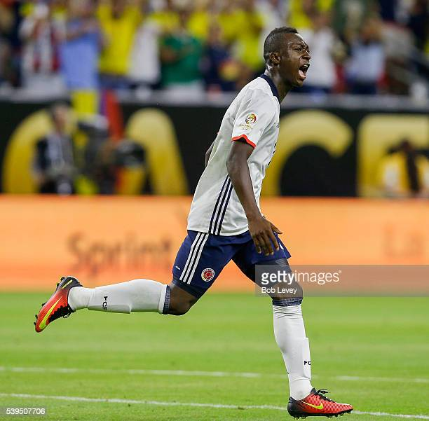Marlos Moreno of Colombia scores in the second half against Costa Rica at NRG Stadium on June 11 2016 in Houston Texas
