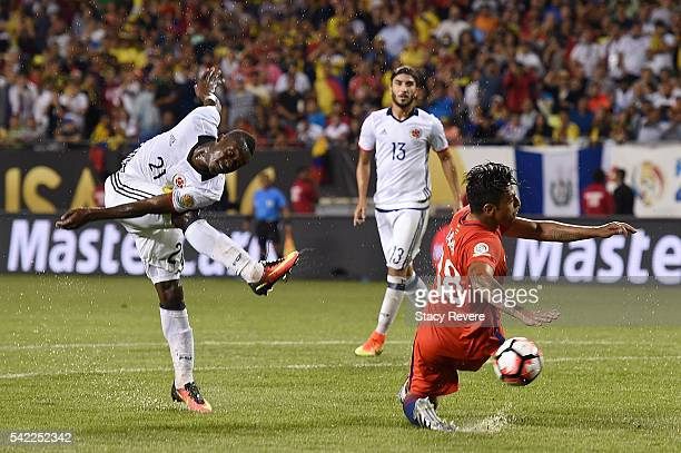 Marlos Moreno of Colombia shoots on goal past Gonzalo Jara of Chile during a semifinal match in the 2016 Copa America Centernario at Soldier Field on...