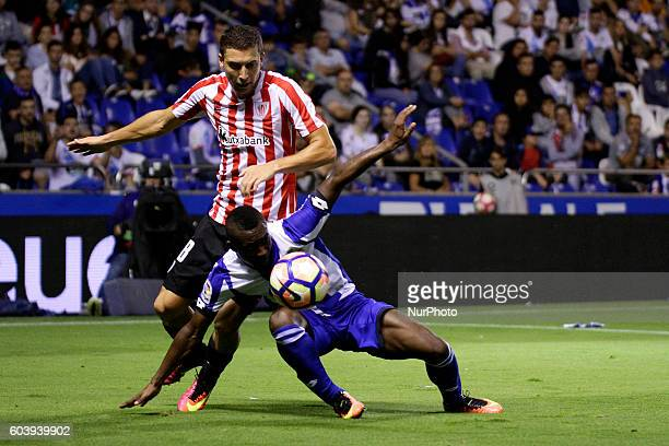 Marlos Moreno of Deportivo de La Coruña and Oscar de Marcos of Athletic de Bilbao in action during the Spanish league football match Real Club...