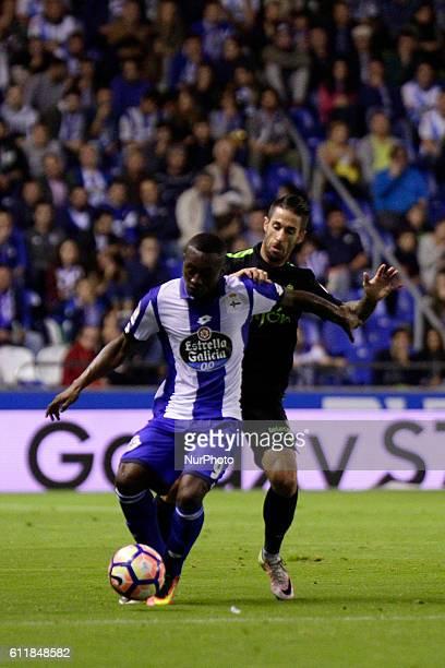 Marlos Moreno of Deportivo de la Coruna controls the ball during the La Liga Santander match between Real Club Deportivo de La Coruna vs Real...