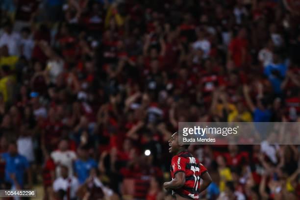 Marlos Moreno of Flamengo celebrates a scored goal during a match between Flamengo and Palmeiras as part of Brasileirao Series A 2018 at Maracana...