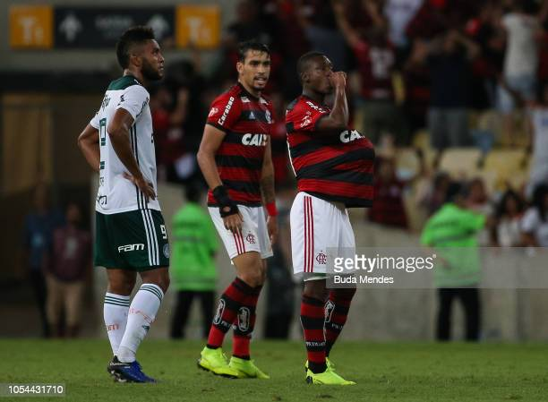 Marlos Moreno of Flamengo celebrates after scoring the first goal of his team during a match between Flamengo and Palmeiras as part of Brasileirao...