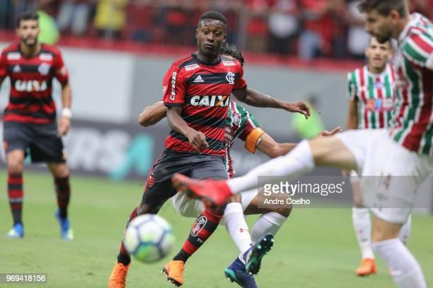 Marlos Moreno of Flamengo looks the ball a match between Flamengo and Fluminense as part of Brasileirao Series A 2018 at Mane Garrincha National...