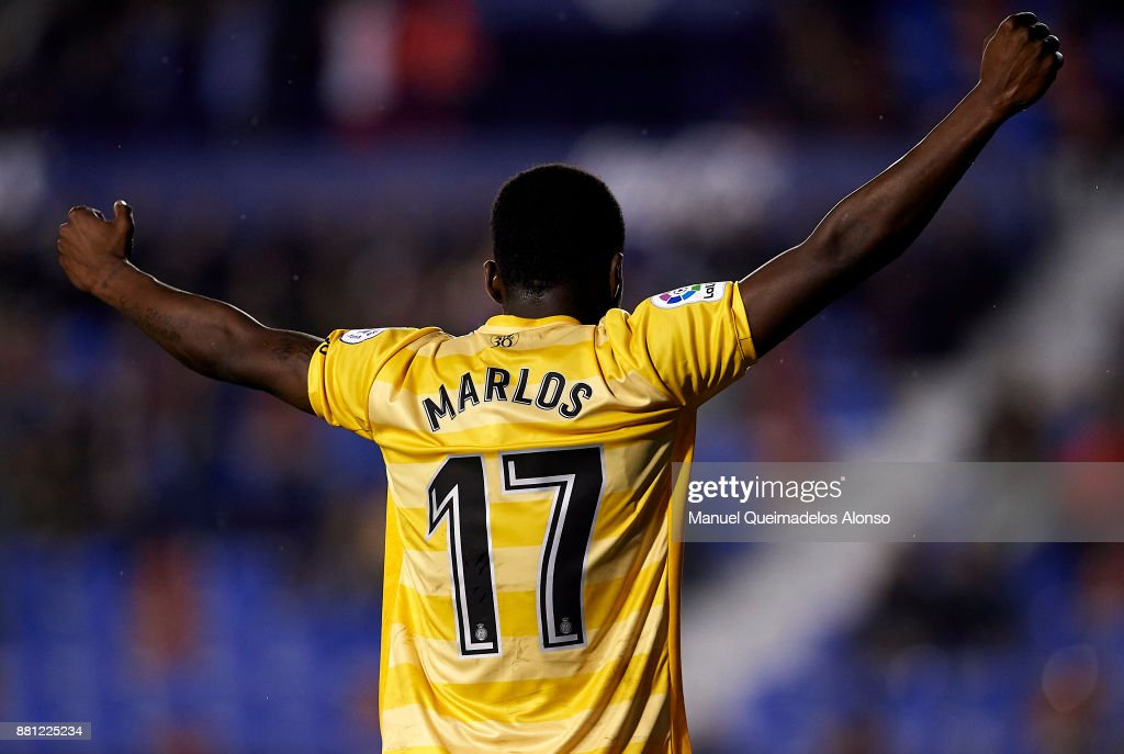 Marlos Moreno of Girona celebrates his team's first goal during the Copa del Rey, Round of 32, Second Leg match between Levante and Girona at Ciudad de Valencia Stadium on November 28, 2017 in Valencia, Spain.