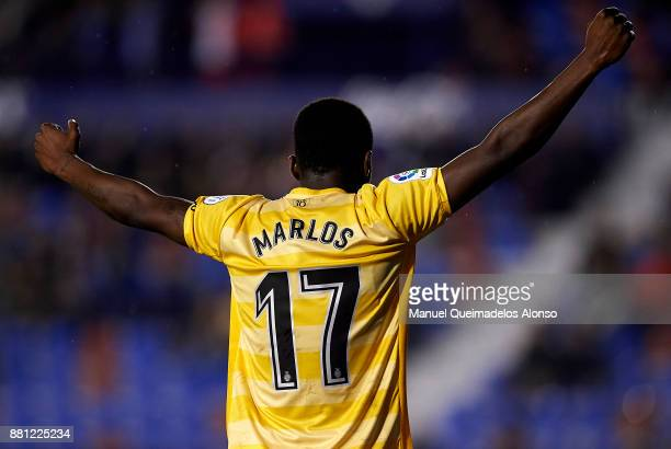 Marlos Moreno of Girona celebrates his team's first goal during the Copa del Rey Round of 32 Second Leg match between Levante and Girona at Ciudad de...