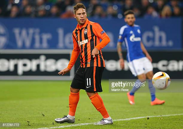 Marlos of Shakhtar Donetsk scores his team's first goal during the UEFA Europa League round of 32 second leg match between FC Schalke 04 and Shakhtar...