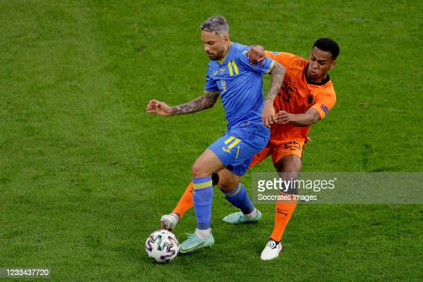 Marlos of Ukraine, Jurrien Timber of Holland during the EURO match between Holland v Ukraine at the Johan Cruijff Arena on June 13, 2021 in Amsterdam...