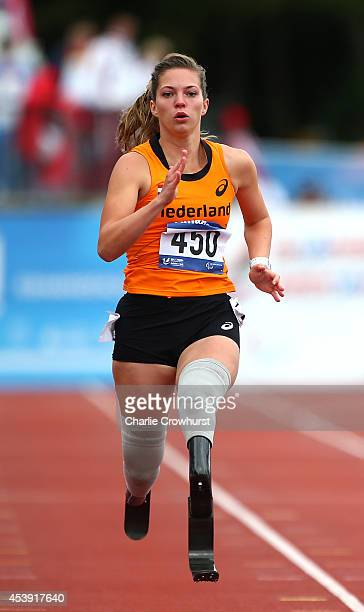 Marlou van Rhijn of Holland wins the womens 200m T44 final during day three of the IPC Athletics European Championships at Swansea University Sports...