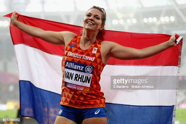 Marlou van Rhijn of Netherlands celebrates after winning gold in the Womens 200m T44 final during day ten of the IPC World ParaAthletics...