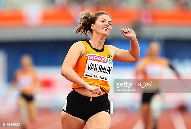 Marlou Van Rhijn of Netherlands celebrates victory in The 200m Women's T43/44 during Day Four of The European Athletics Championships at Olympic...