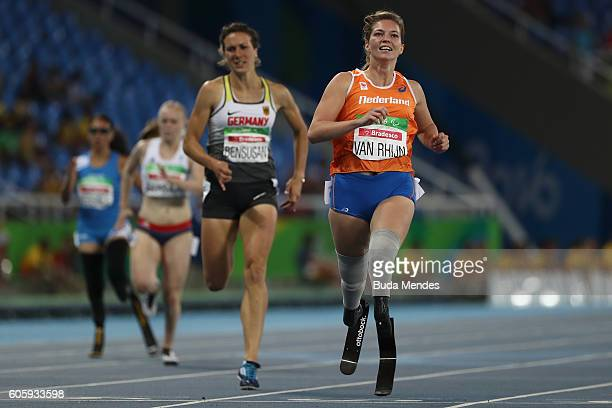 Marlou van Rhijn of Netherlands competes in the Women's 200m T44 Final on day 8 of the Rio 2016 Paralympic Games at the Olympic Stadium on September...