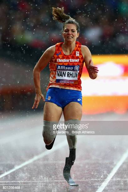 Marlou van Rhijn of Netherlands competes in the Womens 200m T44 final during day ten of the IPC World ParaAthletics Championships 2017 at London...