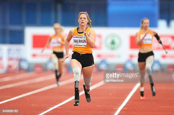 Marlou Van Rhijn of Netherlands on her way to victory in The 200m Women's T43/44 during Day Four of The European Athletics Championships at Olympic...