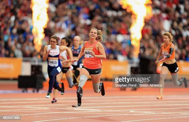 Marlou Van Rhijn of Netherlands wins the womens T44 100m during the IPC Grand Prix Final on day three of the Sainsbury's Anniversary Games event at...