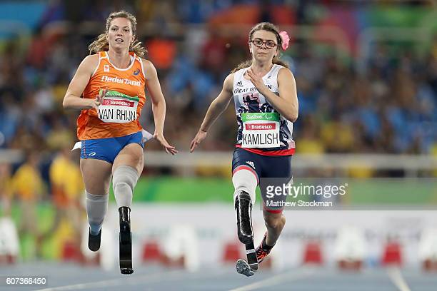 Marlou van Rhijn of the Netherlands and Sophie Kamlish of Great Britain compete at the Women's 100m T44 Final during day 10 of the Rio 2016...