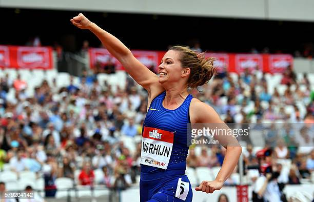 Marlou van Rhijn of the Netherlands celebrates victory in the Womne's T44 100m during Day Two of the Muller Anniversary Games at The Stadium Queen...