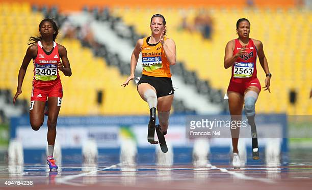 Marlou van Rhijn of the Netherlands competes in the women's 100m T44 heats during the Morning Session on Day Eight of the IPC Athletics World...
