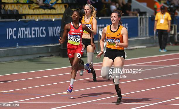 Marlou van Rhijn of the Netherlands competes in the women's 100m T44 final during the Evening Session on Day Eight of the IPC Athletics World...