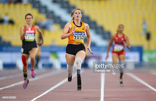 Marlou van Rhijn of the Netherlands competes in the women's 200m T44 final during the Evening Session on Day Three of the IPC Athletics World...