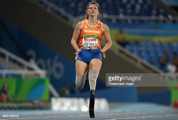 Marlou van Rhijn of the Netherlands competes in the Women's 200m T44 Heat on day 7 of the Rio 2016 Paralympic Games at the Olympic Stadium on...