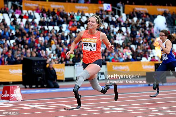Marlou van Rhijn of the Netherlands crosses the line to win the Women's 100m T44 during the IPC Grand Prix Final on Day Three of the Sainsbury's...