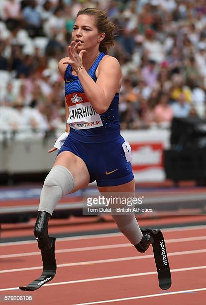 Marlou van Rhijn of the Netherlands races ahead to win the Womne's T44 100m during Day Two of the Muller Anniversary Games at The Stadium Queen...