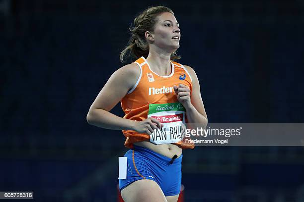 Marlou van Rhijn of the Netherlands reacts after competing in the Women's 200m T44 Heat on day 7 of the Rio 2016 Paralympic Games at the Olympic...
