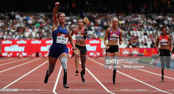 Marlou van Rhijn of the Netherlands wins the Womens 100m T44 race during day two of the Muller Anniversary Games at The Stadium Queen Elizabeth...