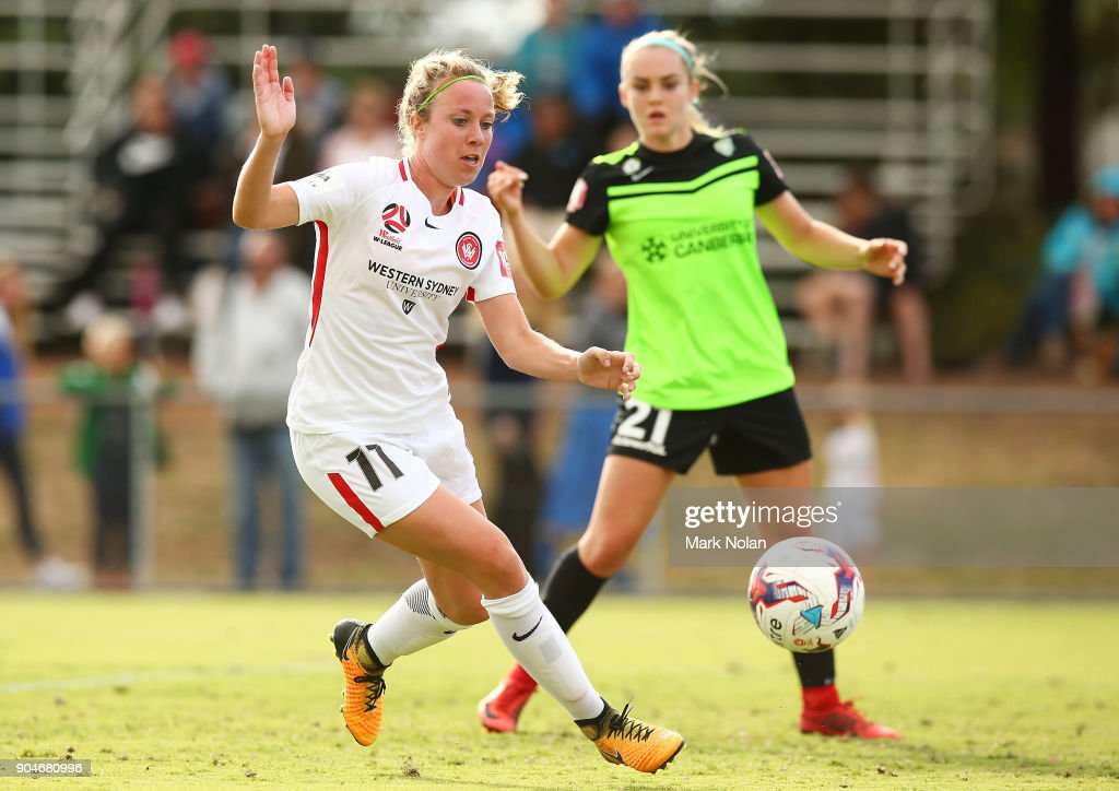 Marlous Pieete of the Wanderers in action during the round 11 W-League match between Canberra United and the Western Sydney Wanderers at McKellar Park on January 14, 2018 in Canberra, Australia.