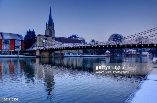 marlow bridge in winter - buckinghamshire stock pictures, royalty-free photos & images