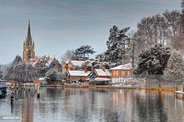 CONTENT] Marlow on the River Thames the morning after the a light snowfall All Saints Marlow Church is on the left