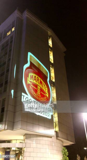 'Marmite' brand project an image onto the London Hotel where the Australian cricket team are currently staying on July 15 2009 in London England