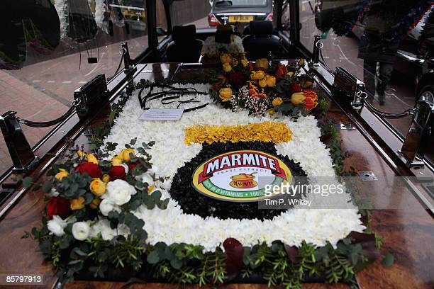 Marmite styled flowers at FA Albin Co Funeral Directors before the funeral cortege of television celebrity Jade Goody leaves FA Albin Co Funeral...