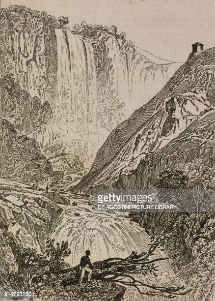 Marmore's Falls Terni Umbria Italy engraving from Italie by AlexisFrancois Artaud de Montor Sicilie by Gigault de La Salle L'Univers pittoresque...